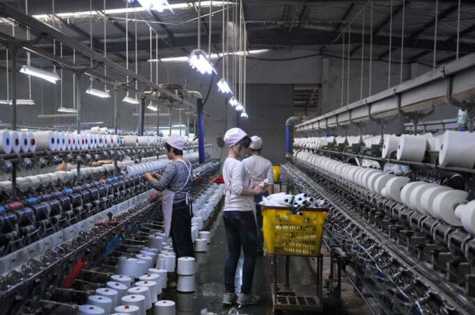 The male workers in Chinese mill