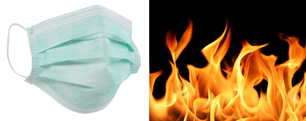 flammability of medical face masks